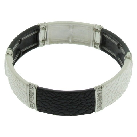 Women's Stretch Bracelet with Metal Castings and Stones - Silver/Black/White