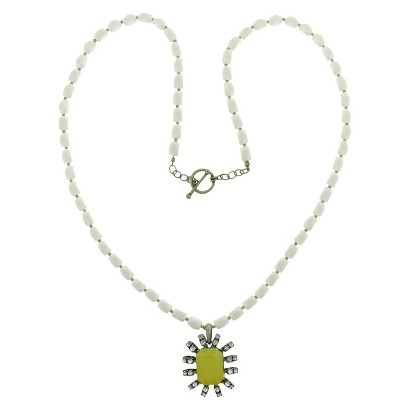 Women's Long Acrylic Stone Necklace with Rectangle and Emerald Cut Stone - Silver/Lime/Crystal