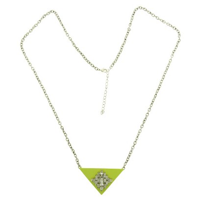 Women's Long Chain Necklace with Triangle and Stone Pendant - Gold/Lime/Crystal