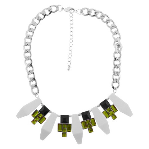 Women's Chain Necklace with Rectangle and Square Acrylic Stones - White/Lime/Black
