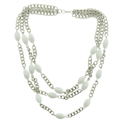 Women's Three Row Chain and Oval Bead Necklace - Silver/White