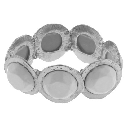 Women's Round Hammered Casting Bracelet with Acrylic Beads - Silver/White