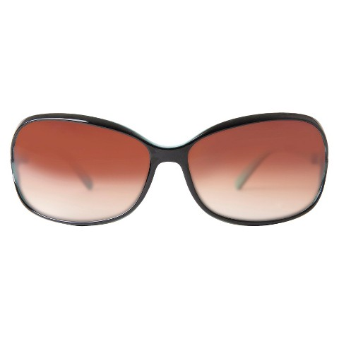 Women's Plastic Rounded Rectangle Sunglasses - Black/Turquoise