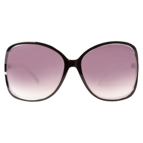 Women's Plastic Rounded Sunglasses with Vented Lens - Black/White