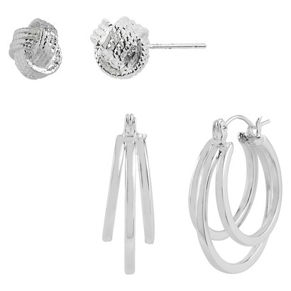 Women's Silver Plated Knot button and Hoop Earrings Set of 2 - Silver