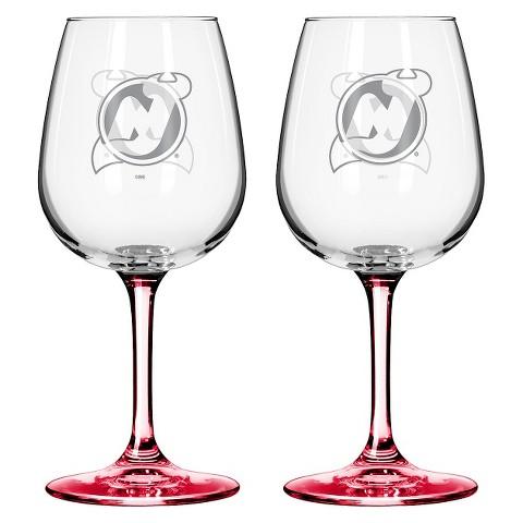 Boelter Brands NHL 2 Pack New Jersey Devils Wine Glass - 12 oz