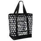 Mesh Beach Polka Dot Tote Handbag - Black