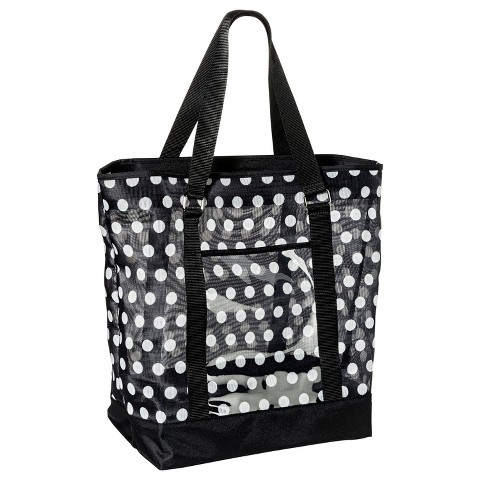 Mesh Beach Polka Dot Tote Handbag - Black