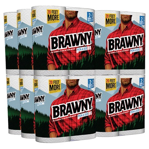 Brawny® Paper Towels-Pick-A-Size-White - 24 Giant Rolls, 107ct