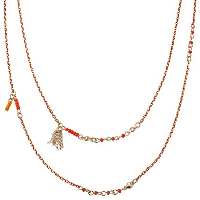"""Women's Long Station Chain Necklace with Tassels and Beads - Orange/Gold (38"""")"""