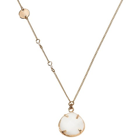 """Women's Long Faceted Pendant Chain Necklace with Simulated Pearls - Gold/White (39"""")"""