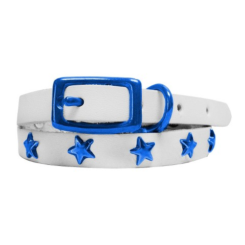 Platinum Pets Genuine Leather Cat & Puppy Collar with Stars White