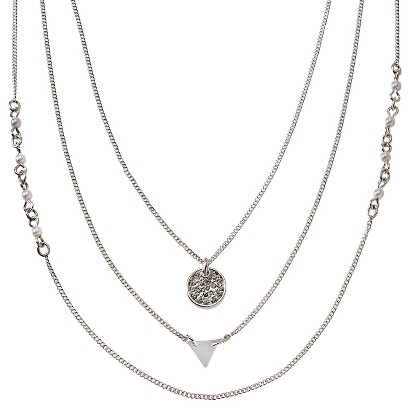 Women's Short Multi Strand Chain Necklace with Metal Triangle, Pave Circle and Simulated Pearls - Silver