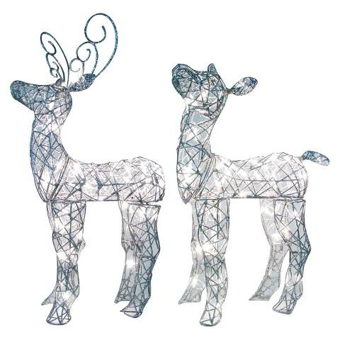 Pre-Lit Glitter Spun Miniature Deer Set