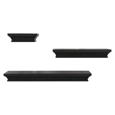 Wall Shelving Set Black 3 Number Of Shelves