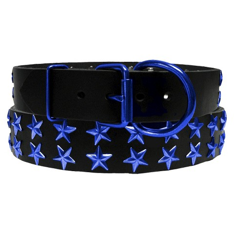 Platinum Pets Genuine Leather Dog Collar with Double Row of Stars