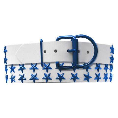 Platinum Pets Genuine Leather Dog Collar with Double Row of Stars White