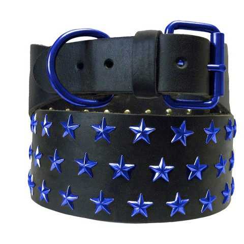 Platinum Pets Genuine Leather Big Dog Collar with Three Rows of Stars