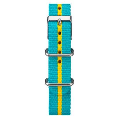Women's Timex Weekender™ Mid-Size Slip Thru Replacement 18mm Strap with Stripe - Blue/Yellow -