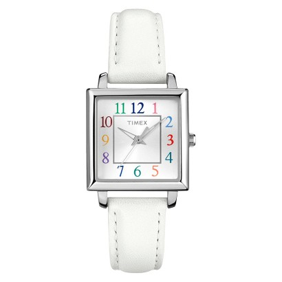 Timex Women's Square Case with Multicolor Numbers on Silver Dial with White Leather Strap - White/Silver