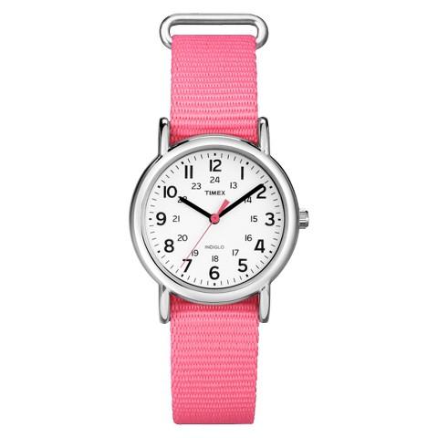 Women's Timex Weekender™ Mid-Size Slip Thru 18mm Strap Watch with Black Numbers - Pink/White -