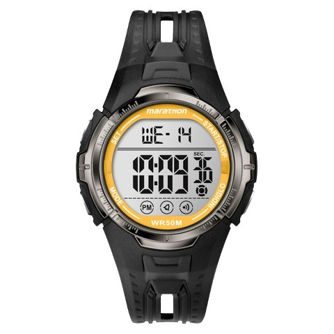 Marathon By Timex Men's Digital Sports Watch with Yellow Accents on the Dial - Black/Yellow