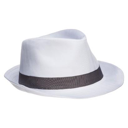 Men's White Fedora With Gray Stripe