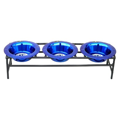 Platinum Pets Triple Modern Dog Feeder with Three Stainless Steel Wide Rimmed Bowls