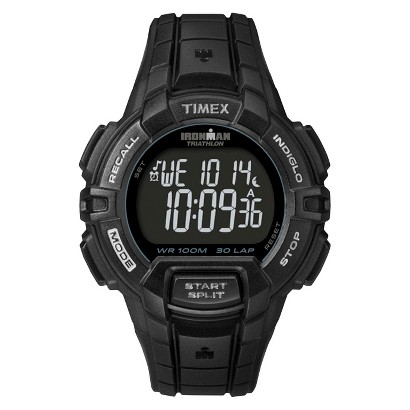 Timex Men's Performance Rugged 30 Lap Black Case and Strap with Reverse Display Dial - Black