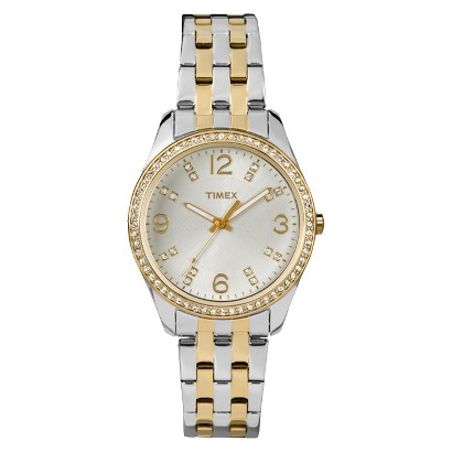 Timex Women's Two Tone Bracelet and Case Watch with Crystal Textured Silver Dial and Crystal Hour Markers