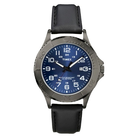 Timex Men's Silver Stainless Steel  and  Black Leather Strap Watch with Blue Dial - Multicolor