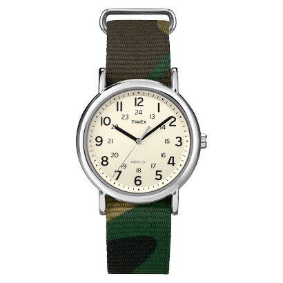 Timex Weekender™ Full-Size Slip Thru Canvas Printed 20mm Strap Watch - Green/White - T2P3659J