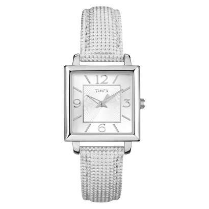 Timex Women's Leather Strap and Silver Tone Case and Dial - Silver