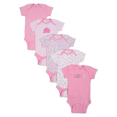 Gerber® Onesies® Newborn Girls' 5 Pack Elephant Bodysuit - Pink 0-3 M