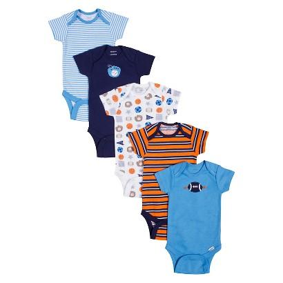 Gerber® Onesies® Newborn Boys' 5 Pack Sports Print Bodysuits - Blue/Orange