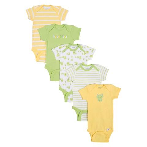 Gerber® Newborn 5pk Frog Onesie® - Yellow/Green