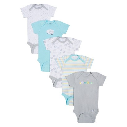 Gerber® Onesies® Newborn 5 Pack Short-Sleeve Lamb Bodysuit - Turquoise/Grey