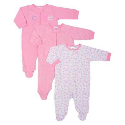 Gerber® Newborn Girls' 3 Pack Long-sleeve Elephant Sleep N' Play - Pink 6-9 M