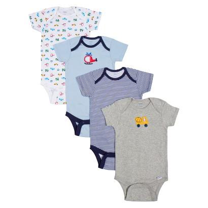Gerber® Onesies® Newborn Boys' 4 Pack Transportation Bodysuit - Blue