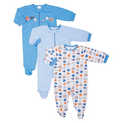 Gerber® Newborn Boys' 3 Pack Zip Front Sports Sleep N' Play - Blue 6-9 M