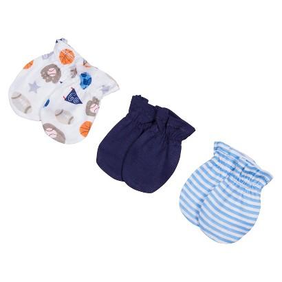 Gerber® Newborn Boys' 3 Pack Sports Mittens - Blue 0-3 M