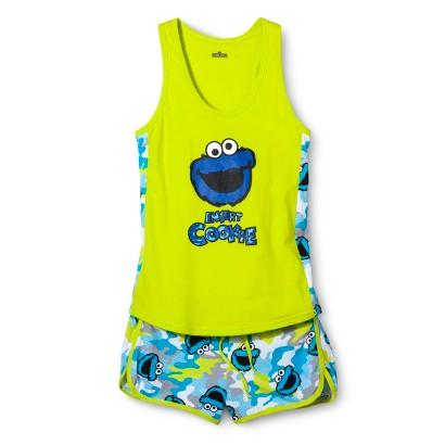 Sesame Street Cookie Monster Juniors Tank/Short Pajama Set - Green/Blue