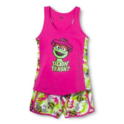 SESAME STREET® Juniors Oscar Pajama Set - Pink/Green