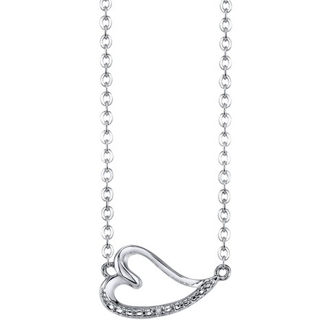 Women's Sideways Heart with Diamond Accent - Silver