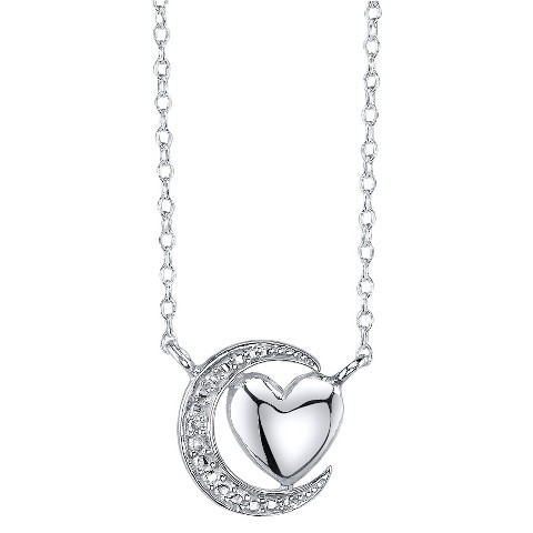 Women's Heart Moon with Diamond Accent - Silver