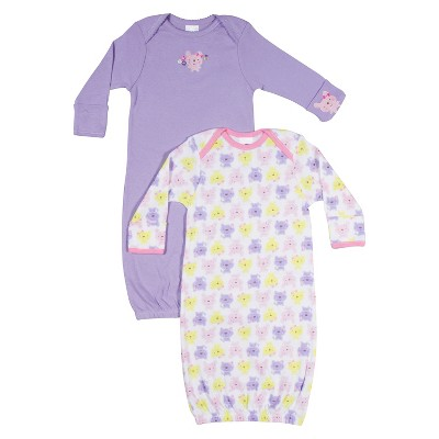 Gerber® Newborn Girls' 2 Pack Bunny Gown - Pink 0-6 M