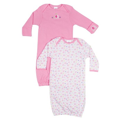 Gerber® Newborn Girls' 2 Pack Elephant Gown - Pink 0-6 M