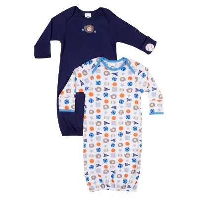 Gerber® Newborn Boys' 2 Pack Sports Gowns - Blue 0-6 M