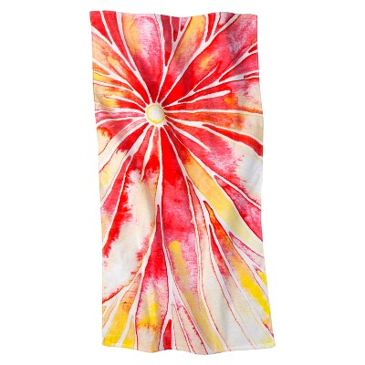 Orange Floral Beach Towel