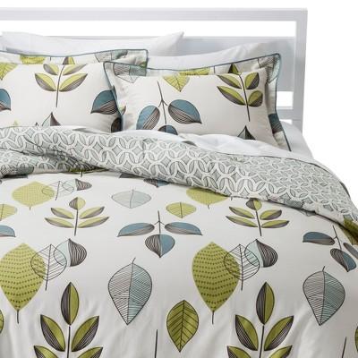 Scandinavian Reversible Comforter Set - Gray/Green (Full/Queen)